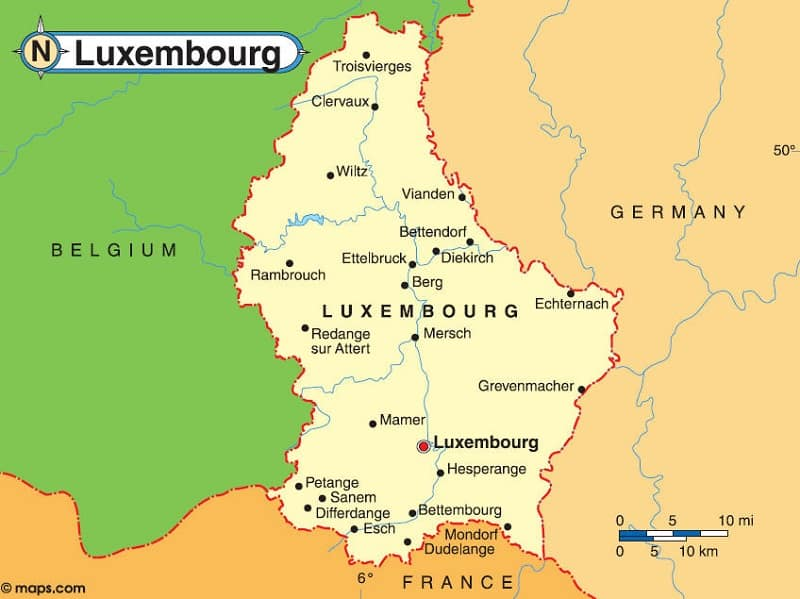 Luxembourg-Map